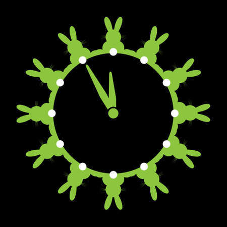 tails: twelve green bunnies with white tails as wall clocks on a black background Illustration