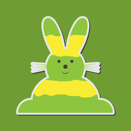 the greenish: sitting smiling greenish yellow Easter bunny on a green background
