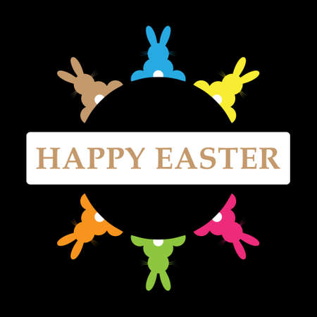 six Easter bunnies in different colors in a circle and text on a black background Vector