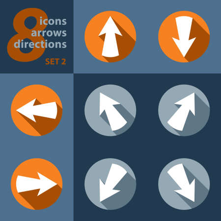 set of eight icons with arrows in all eight directions and stylized shadows
