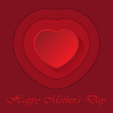 contours: Mothers Day greeting card with red heart and contours