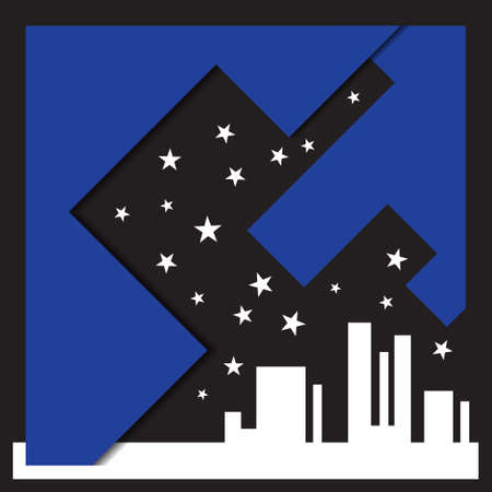 sloping: city silhouette and abstract sky with stars Illustration