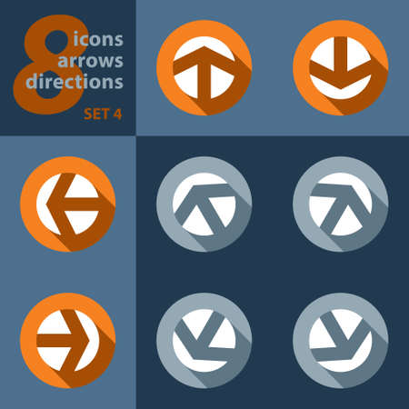 singpost: set of eight icons with arrows in all eight directions and stylized shadows