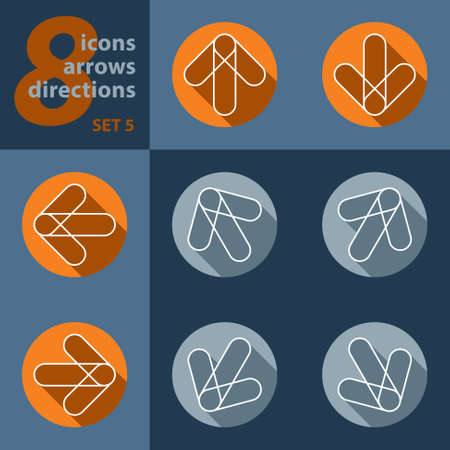 set of eight icons with arrows in all eight directions with stylized shadows