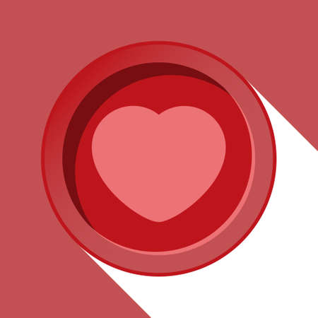 red circle with heart and stylized shadow on a red background Vector