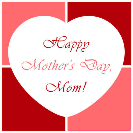 Mothers Day greeting card - white heart with the background of the four red and pink squares Vector