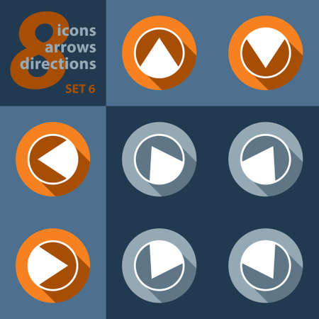 singpost: set of eight icons with arrows in all eight directions with stylized shadows