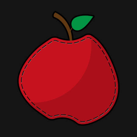 seam: stylized red seam apple with shadow on a black background