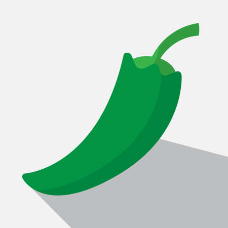 paprika: green paprika and long shadow on a white background