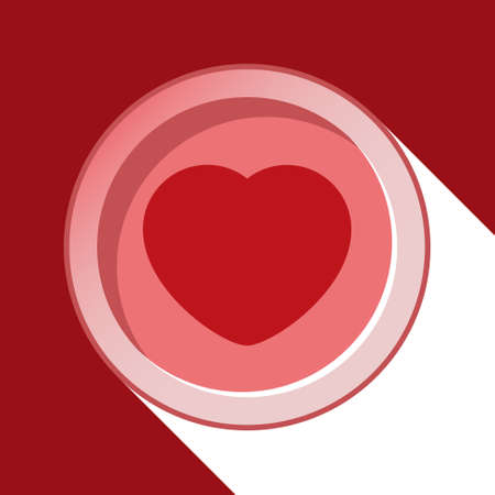 circle with red heart and stylized shadow on a red background Vector