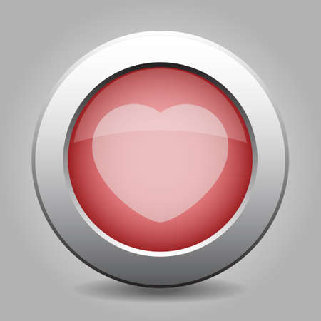off white: gray and red chrome button - with off white heart