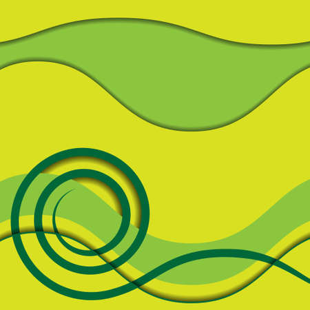 coil spring: abstract green spiral and waves with shadows on a green and yellow background