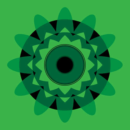 nirvana: geometric bright abstract green mandala with black eye in the center of the circle on a green background