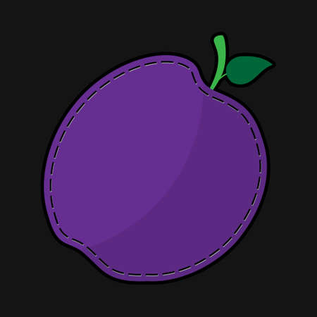 purple leaf plum: stylized seam purple plum with stalk and green leaf and shadow on a black background Illustration