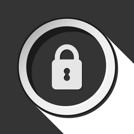 black icon with closed padlock and white stylized shadow Vector