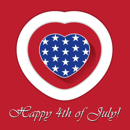 independent day: Independent Day greeting card with blue heart and white stars and red - white contours Illustration