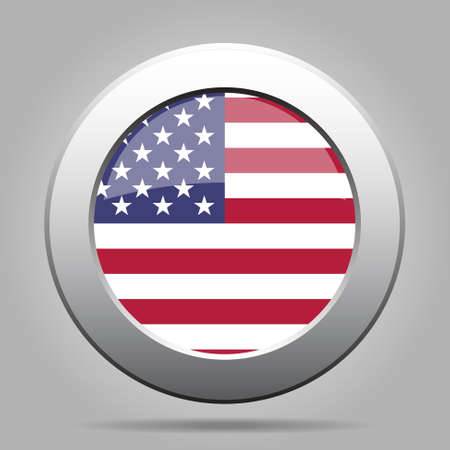 metal button with the national flag of the United States of America on a gray background Vector