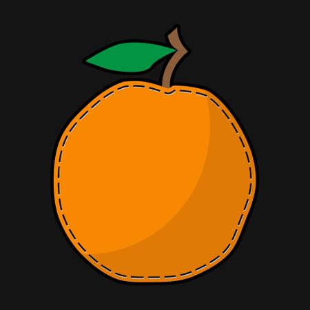seam: stylized seam orange with shadow on a black background