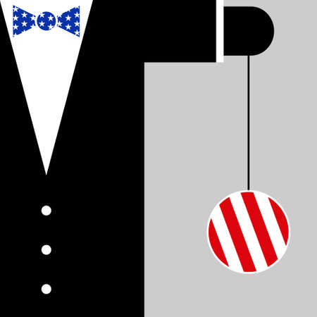 yoyo: black suit with the symbols of USA flag  blue bow tie with white stars and yoyo with red and white stripes