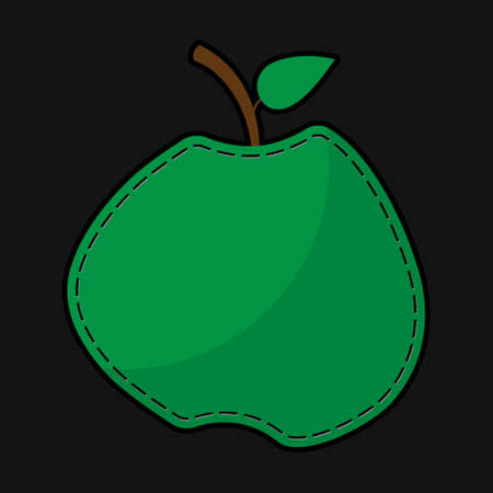 suture: stylized green seam apple with shadow on a black background