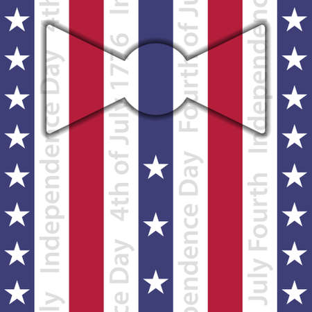 stylized suit  with bow tie and buttons  red white and blue stripes with white stars and vertical text Vector