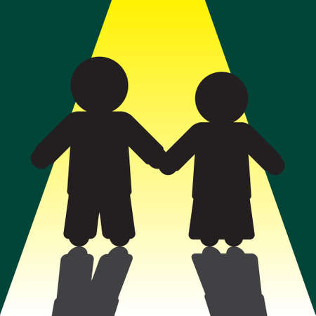 cherish: boy and girl silhouettes with shadows  on the way to the light