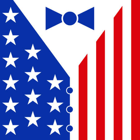 mens suit with bow tie stars and buttons in the colors of the american flag  blue and red Vector