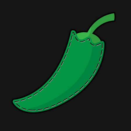 seam: stylized green seam paprika with shadow on a black background Illustration