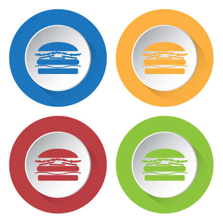 blue cheese: set of four colored icons with hamburger