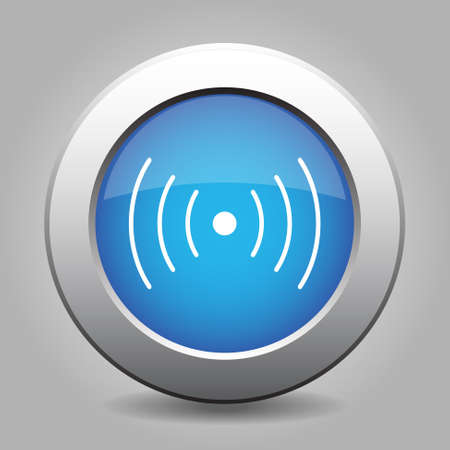 light blue metal button with white sound or vibration symbol
