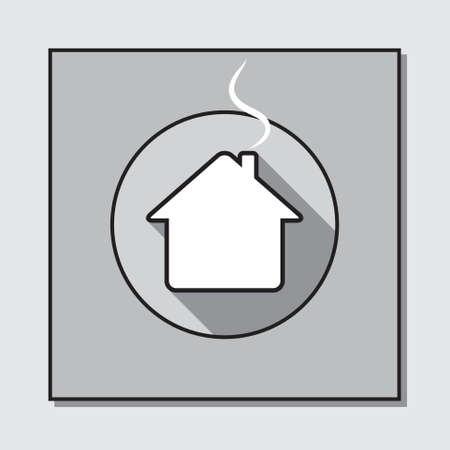 white house: circle icon with shadow on a gray square base - white house with a chimney and smoke Illustration