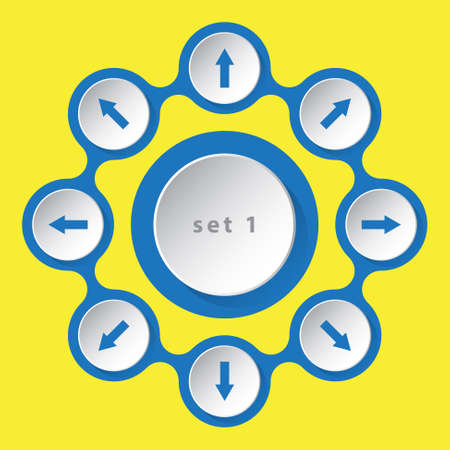 sideways: blue white icons with arrows in eight directions on a yellow background Illustration