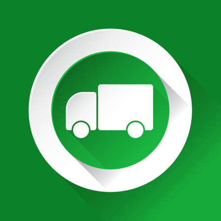 shiny icon: green circle shiny icon with white contour on a green background - lorry car