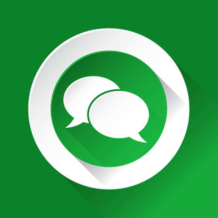 shiny icon: green circle shiny icon with white contour on a green background - speech bubbles Illustration