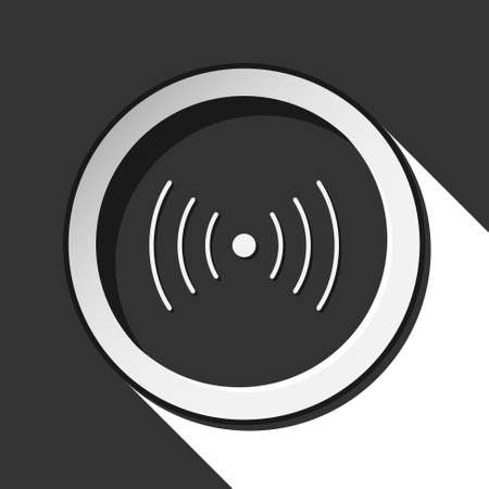 black icon with sound or vibration and white stylized shadow Illustration
