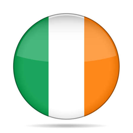 white flag: button with national flag of Ireland