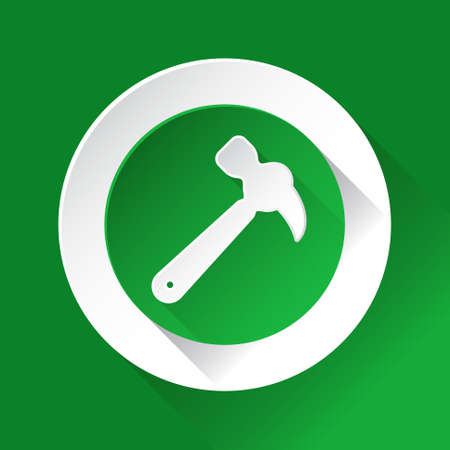 shiny icon: green circle shiny icon with white contour on a green background - claw hammer