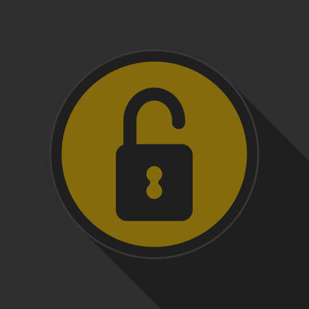 graphic icon: dark gray and yellow icon - open padlock on circle with long shadow