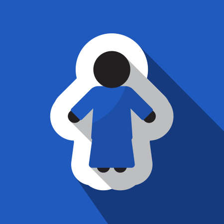 black woman: square blue information icon with white outline and shadow - blue and black silhouette of woman