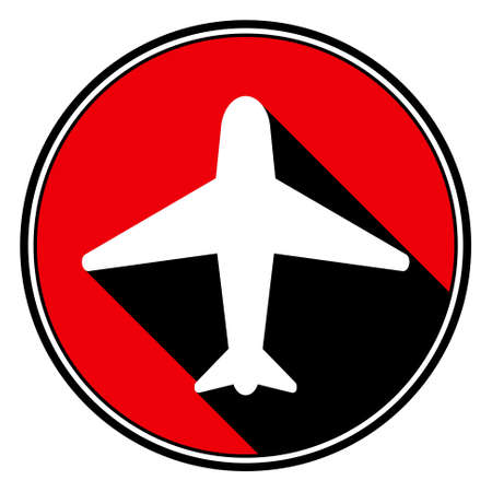 black shadow: information icon - red circle with black outline and white airplane with stylized black shadow