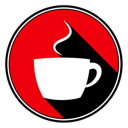 black shadow: information icon - red circle with black outline and white cup with smoke with stylized black shadow