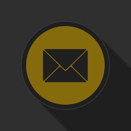 mailing: dark gray and yellow icon - mailing envelope on circle with long shadow