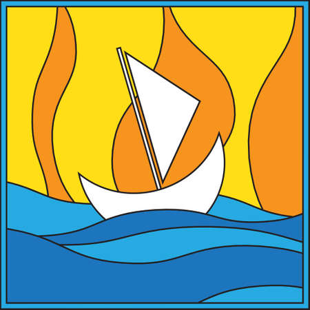 sailer: white sailboat at sea on a yellow and orange background