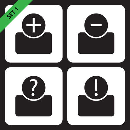 bust: set of four black icons - bust with plus, minus, question mark and exclamation mark