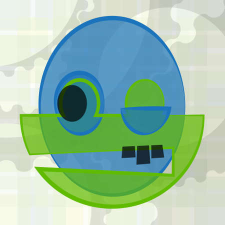 green face: blue and green face with black eye and teeth on a background with gears - abstract illustration