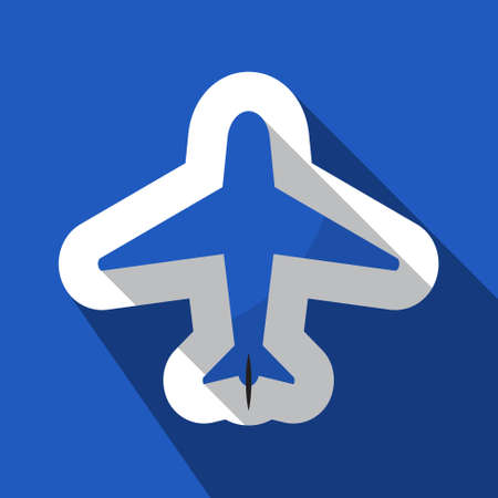 navigation object: square blue information icon with white outline and shadow - blue and black airplane
