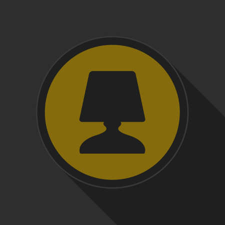 bedside: dark gray and yellow icon - bedside table lamp on circle with long shadow
