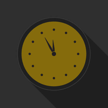 symbol on a dark background: dark gray and yellow icon - clock on circle with long shadow