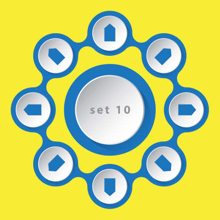 info graphic: blue white icons - with arrows in eight directions on a yellow background