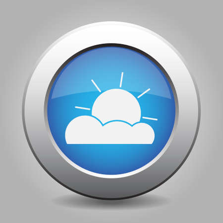 partly: blue metal button with white weather - partly cloudy